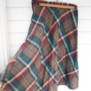 Vintage Wool Blend Plaid Midi Skirt Size S